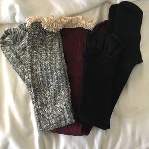 NWOT Set of 3 Knee High Boot Socks